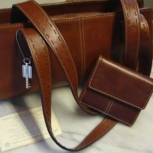 Fossil leather handbag with certificate & wallet